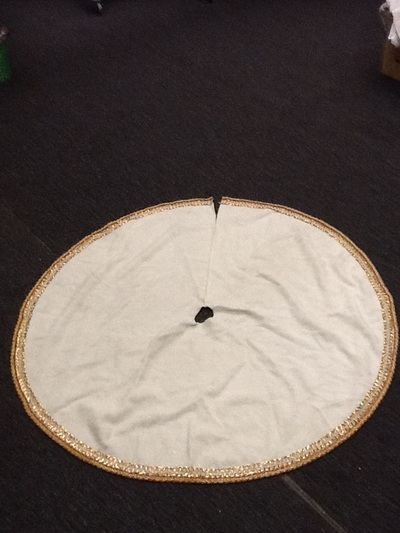 Cream Color Gold Trim Tree Skirt 60 Inch 1 Available